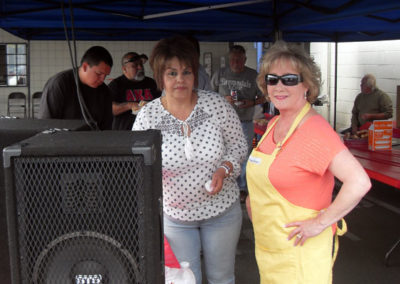 Pat and Maria helping out in the hot dog stand.