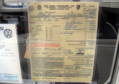 The original 1967 VW bill of sale for $2004.08 – purchased on January 3rd, 1967.